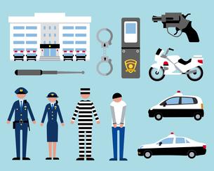 警察と犯人のイラスト素材 [FYI03060406]