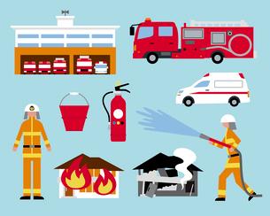 消防士と火事のイラスト素材 [FYI03060408]