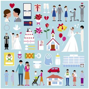 プロポーズ結婚出産セットのイラスト素材 [FYI03060488]