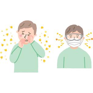 マスクをした花粉症の男性のイラスト素材 [FYI03060509]
