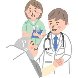 医師と看護師と入院患者のイラスト素材 [FYI03060510]