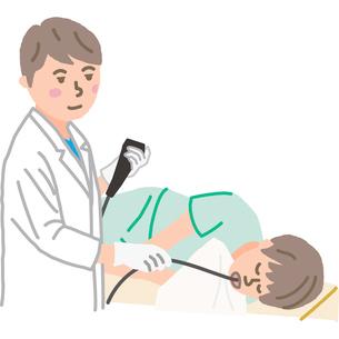 経口内視鏡検査をする医師のイラスト素材 [FYI03060511]