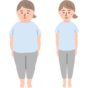 ダイエットをする女性ビフォーアフターのイラスト素材 [FYI03060512]