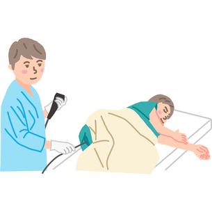 大腸内視鏡検査をする医師のイラスト素材 [FYI03060515]