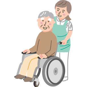 車いすの高齢男性と介護福祉士のイラスト素材 [FYI03060517]