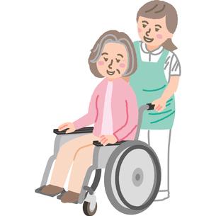 車いすの高齢女性と介護福祉士のイラスト素材 [FYI03060518]