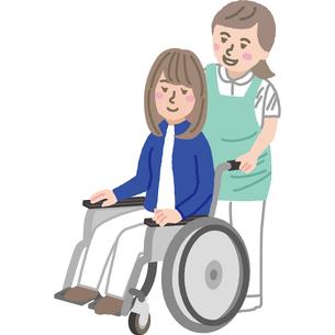 車いすの若い女性と介護福祉士のイラスト素材 [FYI03060522]