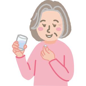 薬を飲む高齢女性のイラスト素材 [FYI03060555]