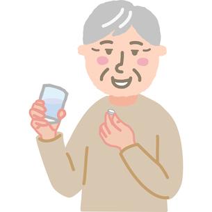 薬を飲む高齢男性のイラスト素材 [FYI03060557]