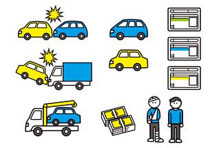 自動車事故と免許証のアイコンのイラスト素材 [FYI03060568]