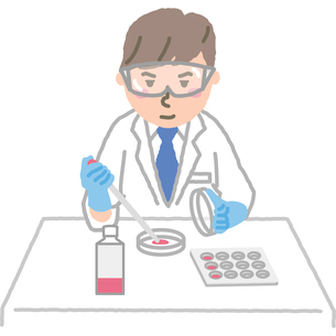 創薬など研究をする男性のイラスト素材 [FYI03060584]