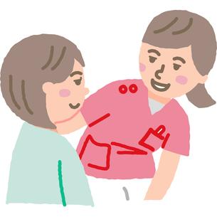 看護師と女性入院患者のイラスト素材 [FYI03060588]