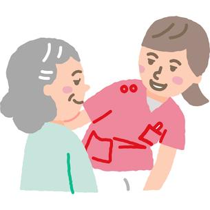 看護師と高齢女性のイラスト素材 [FYI03060593]