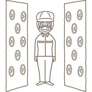 クリーンルームのエアシャワーをあびる作業員のイラスト素材 [FYI03060596]