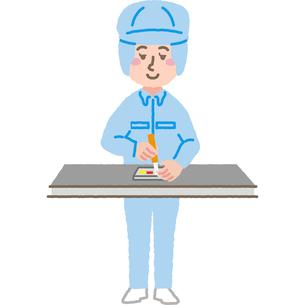 組み立て工場で働く作業員のイラスト素材 [FYI03060597]
