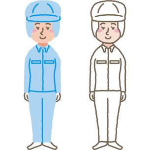 作業着を着た女性のイラスト素材 [FYI03060598]