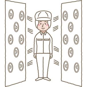 クリーンルームのエアシャワーをあびる作業員のイラスト素材 [FYI03060599]