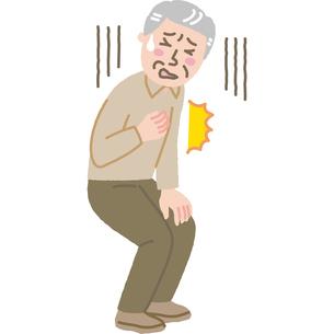 突然胸の痛みに襲われた高齢男性のイラスト素材 [FYI03060602]