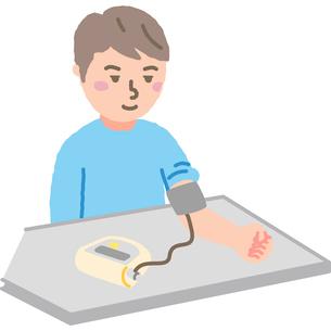 血圧を測る男性のイラスト素材 [FYI03060607]