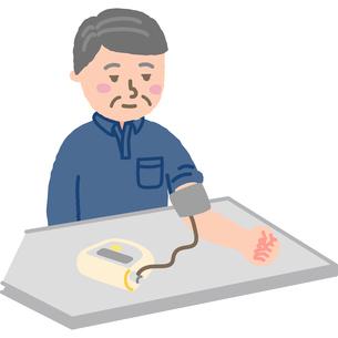 血圧を測る中年男性のイラスト素材 [FYI03060608]