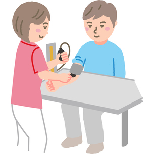 患者の血圧を測る看護師のイラスト素材 [FYI03060609]