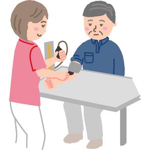 中年男性の血圧を測る看護師のイラスト素材 [FYI03060610]