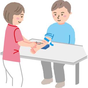 採血をしている看護師さんと患者のイラスト素材 [FYI03060612]