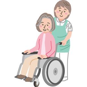 車椅子の高齢女性と看護師のイラスト素材 [FYI03060621]