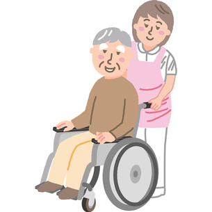 車いすの高齢男性と介護福祉士のイラスト素材 [FYI03060623]