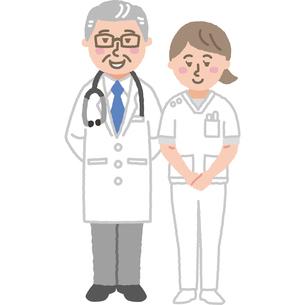 ベテラン医師と看護師のイラスト素材 [FYI03060624]