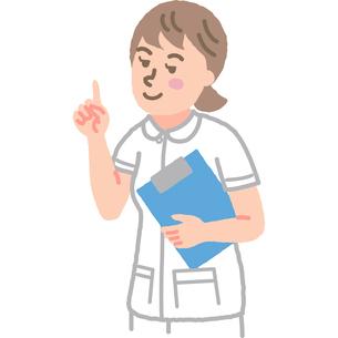 人差し指を立てている看護師のイラスト素材 [FYI03060625]