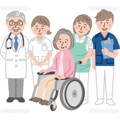 患者をサポートする笑顔の医療スタッフのイラスト素材 [FYI03060627]
