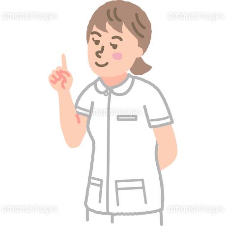 人差し指を立てている看護師のイラスト素材 [FYI03060629]