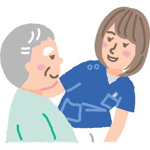 笑顔の看護師と入院患者のイラスト素材 [FYI03060636]