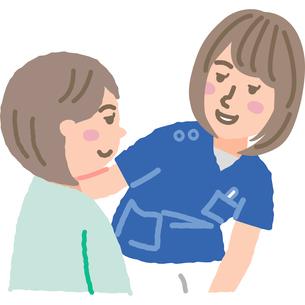 会話する看護師と女性患者のイラスト素材 [FYI03060639]