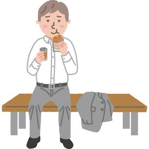 ベンチでお昼ご飯を食べるサラリーマンのイラスト素材 [FYI03060651]