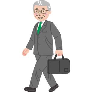 元気に歩いている年配のサラリーマンのイラスト素材 [FYI03060652]