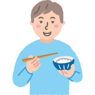 ご飯を食べる男性のイラスト素材 [FYI03060653]