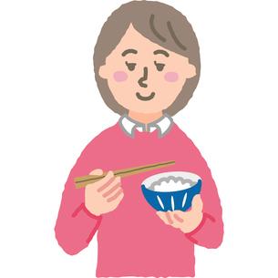 ご飯を食べる女性のイラスト素材 [FYI03060655]