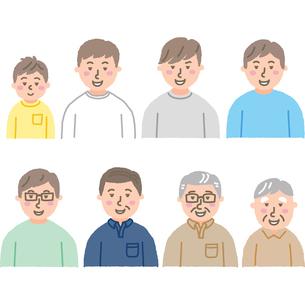 笑顔の子供10代20代30代40代50代60代70代の男性のイラスト素材 [FYI03060658]