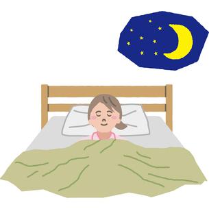 夜ぐっすり眠る女性のイラスト素材 [FYI03060661]