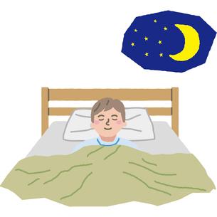 夜ぐっすり眠る男性のイラスト素材 [FYI03060663]