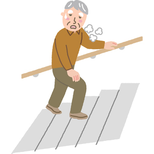 階段で息が切れる高齢者のイラスト素材 [FYI03060669]