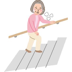 階段で息が切れる高齢女性のイラスト素材 [FYI03060670]