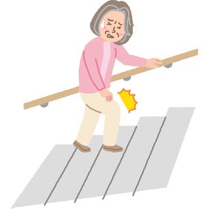 階段で膝の痛みに耐える高齢者のイラスト素材 [FYI03060671]