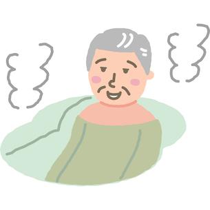 お風呂でリラックスする高齢男性のイラスト素材 [FYI03060673]
