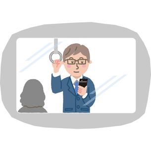 電車の中で携帯を見ているサラリーマンのイラスト素材 [FYI03060675]