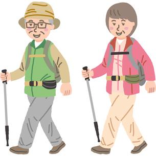 トレッキングをする中年夫婦のイラスト素材 [FYI03060682]