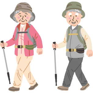 山歩きをする高齢夫婦のイラスト素材 [FYI03060683]
