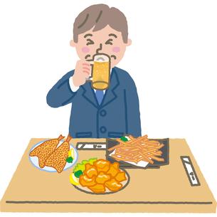 酒屋で揚げ物を食べてビールを飲むサラリーマンのイラスト素材 [FYI03060687]